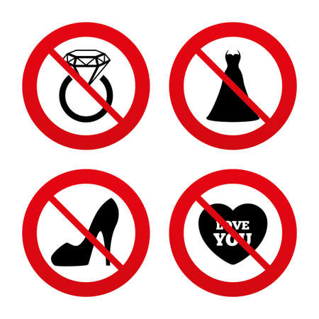 No, Ban or Stop signs. Wedding dress icon. Women's shoe and love heart symbols. Wedding or engagement day ring with diamond sign. Prohibition forbidden red symbols. Vector Banque d'images - 111101624