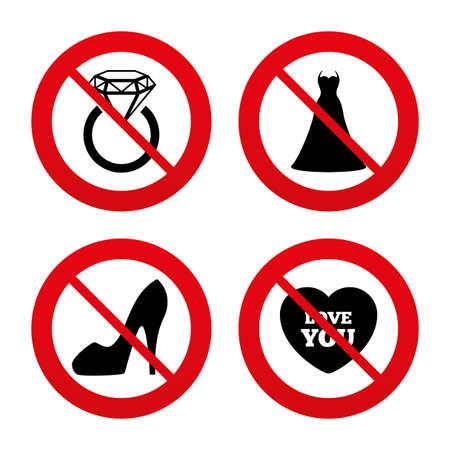 Non, Interdiction ou Stop. Icône de robe de mariée. Chaussures pour femmes et symboles de coeur d'amour. Bague de mariage ou de fiançailles avec signe de diamant. Interdiction interdit les symboles rouges. Vecteur