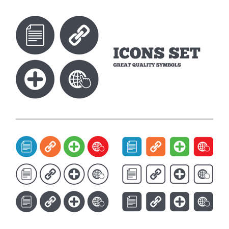 appendix: Plus add circle and hyperlink chain icons. Document file and globe with hand pointer sign symbols. Web buttons set. Circles and squares templates. Vector