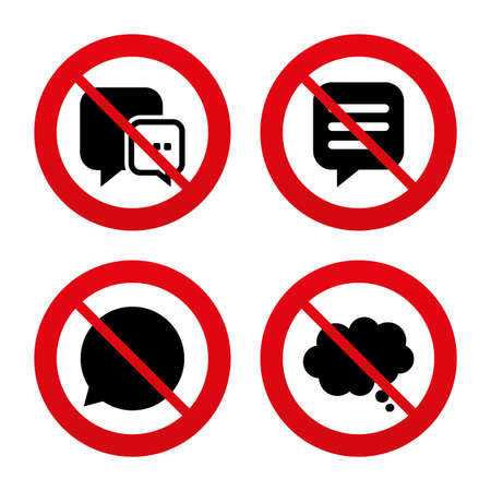 No, Ban or Stop signs. Chat icons. Comic speech bubble signs. Communication think symbol. Prohibition forbidden red symbols. Vector Vector