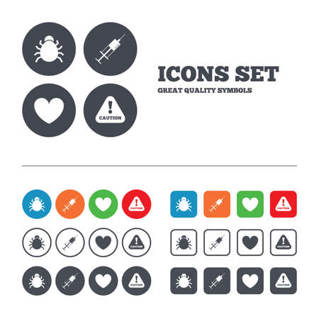 syringe injection: Bug and vaccine syringe injection icons. Heart and caution with exclamation sign symbols. Web buttons set. Circles and squares templates. Vector