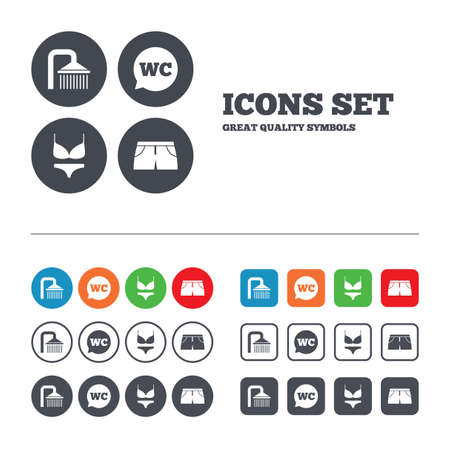 women in underwear: Swimming pool icons. Shower water drops and swimwear symbols. WC Toilet speech bubble sign. Trunks and women underwear. Web buttons set. Circles and squares templates. Vector