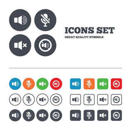 Player control icons. Sound, microphone and mute speaker signs. No sound symbol. Web buttons set. Circles and squares templates. Vector
