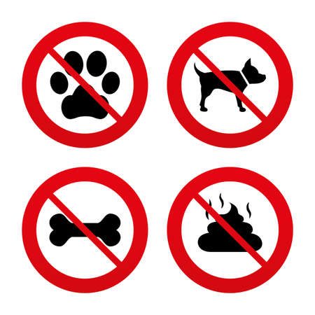 No, Ban or Stop signs. Pets icons. Dog paw and feces signs. Clean up after pets. Pets food. Prohibition forbidden red symbols. Vector Vector