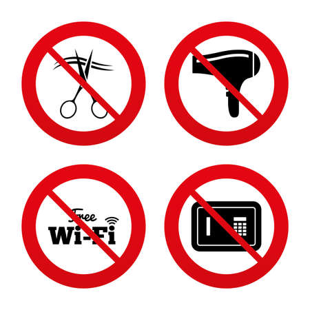 No, Ban or Stop signs. Hotel services icons. Wi fi, Hairdryer and deposit lock in room signs. Wireless Network. Hairdresser or barbershop symbol. Prohibition forbidden red symbols. Vector Vector