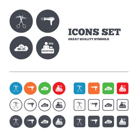 Hotel services icons. Wi fi, Hairdryer in room signs. Wireless Network. Hairdresser or barbershop symbol. Reception registration table. Web buttons set. Circles and squares templates. Vector Vector