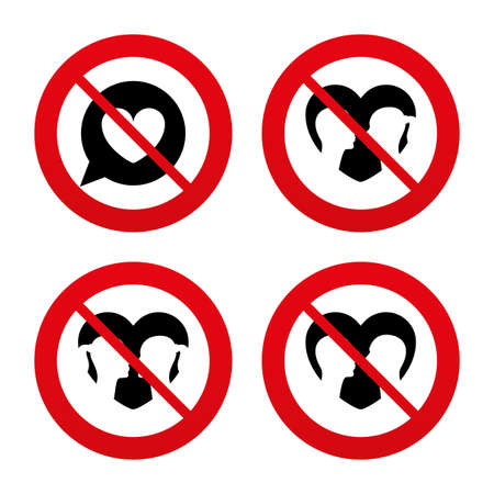 homosexual sex: No, Ban or Stop signs. Couple love icon. Lesbian and Gay lovers signs. Romantic homosexual relationships. Speech bubble with heart symbol. Prohibition forbidden red symbols. Vector