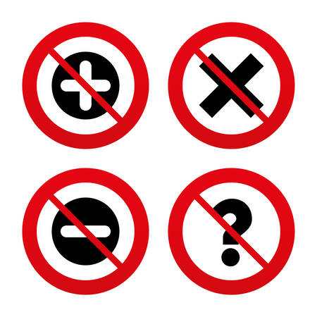 enlarge: No, Ban or Stop signs. Plus and minus icons. Delete and question FAQ mark signs. Enlarge zoom symbol. Prohibition forbidden red symbols. Vector