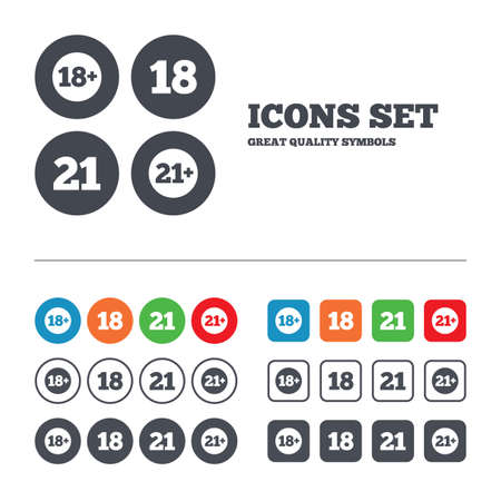 18 20 years: Adult content icons. Eighteen and twenty-one plus years sign symbols. Web buttons set. Circles and squares templates. Vector Illustration
