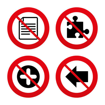 puzzle corners: No, Ban or Stop signs. Plus add circle and puzzle piece icons. Document file and back arrow sign symbols. Prohibition forbidden red symbols. Vector Illustration