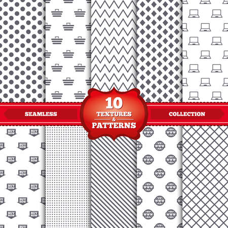 Repeatable patterns and textures. Online shopping icons. Notebook pc, shopping cart, buy now arrow and internet signs. WWW globe symbol. Gray dots, circles, lines on white background. Vector Vector