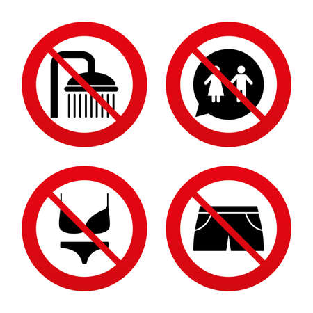 no swimming: No, Ban or Stop signs. Swimming pool icons. Shower water drops and swimwear symbols. WC Toilet speech bubble sign. Trunks and women underwear. Prohibition forbidden red symbols. Vector