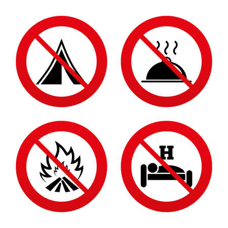 breakfast in bed: No, Ban or Stop signs. Hot food, sleep, camping tent and fire icons. Hotel or bed and breakfast. Road signs. Prohibition forbidden red symbols. Vector Illustration
