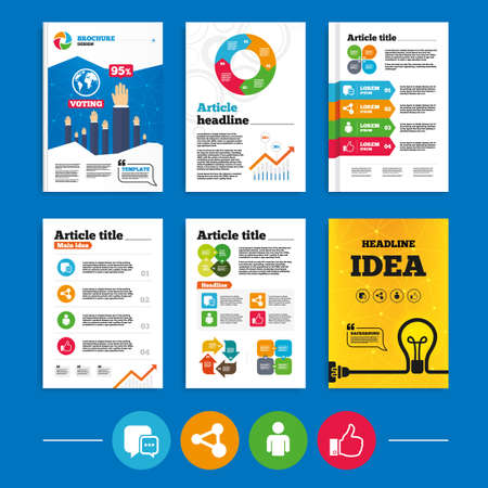 link up: Brochure or flyers design. Social media icons. Chat speech bubble and Share link symbols. Like thumb up finger sign. Human person profile. Business poll results infographics. Vector Illustration