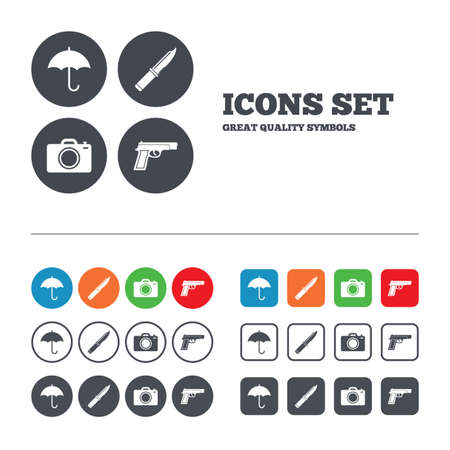 edged: Gun weapon icon.Knife, umbrella and photo camera signs. Edged hunting equipment. Prohibition objects. Web buttons set. Circles and squares templates. Vector