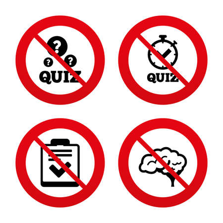 feedback form: No, Ban or Stop signs. Quiz icons. Human brain think. Checklist and stopwatch timer symbol. Survey poll or questionnaire feedback form sign. Prohibition forbidden red symbols. Vector Illustration