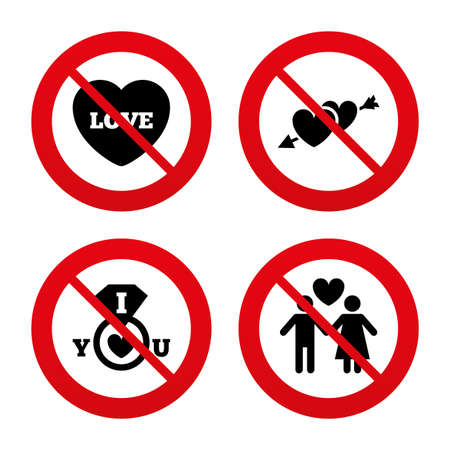 no, ban or stop signs. valentine day love icons. best girlfriend