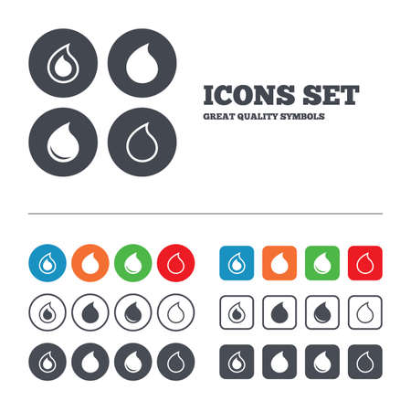 tear: Water drop icons. Tear or Oil drop symbols. Web buttons set. Circles and squares templates. Vector