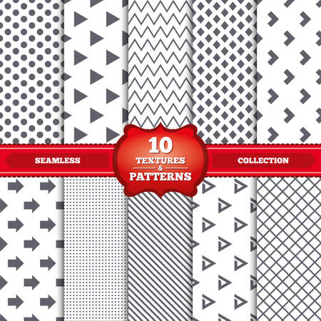 arrowhead: Repeatable patterns and textures. Arrow icons. Next navigation arrowhead signs. Direction symbols. Gray dots, circles, lines on white background. Vector Illustration