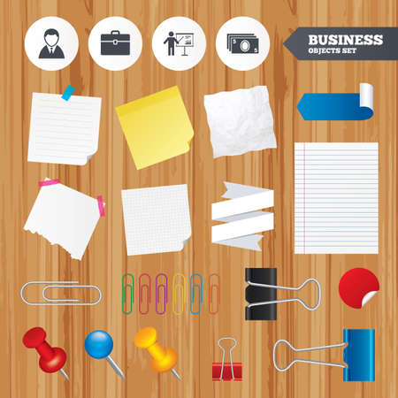 paper case: Paper sheets. Office business stickers, pin, clip. Businessman icons. Human silhouette and cash money signs. Case and presentation with chart symbols. Squared, lined pages. Vector Illustration