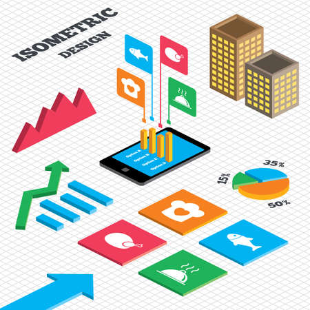 tall hat: Isometric design. Graph and pie chart. Chief hat with heart and cooking pan icons. Fish and chicken signs. Hot food platter serving symbol. Tall city buildings with windows. Vector Illustration