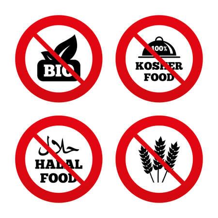 kosher: No, Ban or Stop signs. Natural Bio food icons. Halal and 100% Kosher signs. Gluten free agricultural symbol. Prohibition forbidden red symbols. Vector