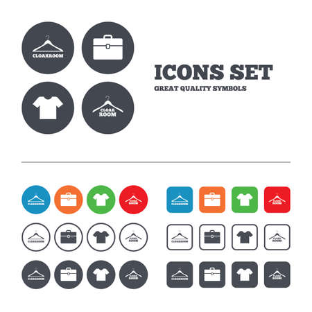 cloakroom: Cloakroom icons. Hanger wardrobe signs. T-shirt clothes and baggage symbols. Web buttons set. Circles and squares templates. Vector Illustration