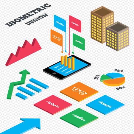 markup: Isometric design. Graph and pie chart. Programmer coder glasses icon. HTML markup language and PHP programming language sign symbols. Tall city buildings with windows. Vector
