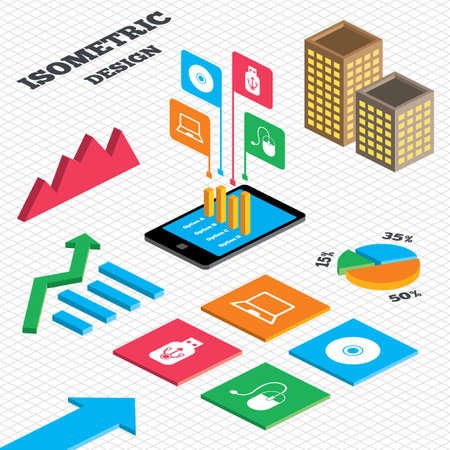 optical disk: Isometric design. Graph and pie chart. Notebook pc and Usb flash drive stick icons. Computer mouse and CD or DVD sign symbols. Tall city buildings with windows. Vector
