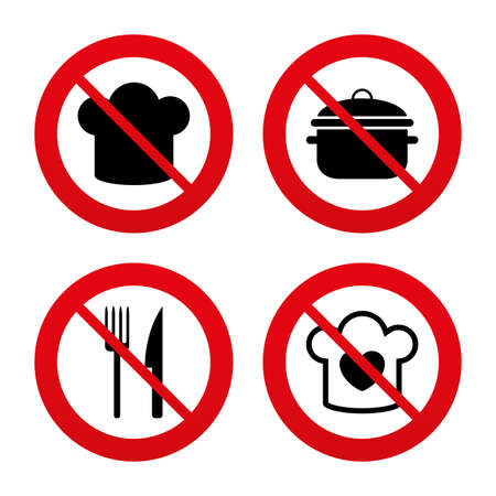 stew: No, Ban or Stop signs. Chief hat and cooking pan icons. Fork and knife signs. Boil or stew food symbols. Prohibition forbidden red symbols. Vector