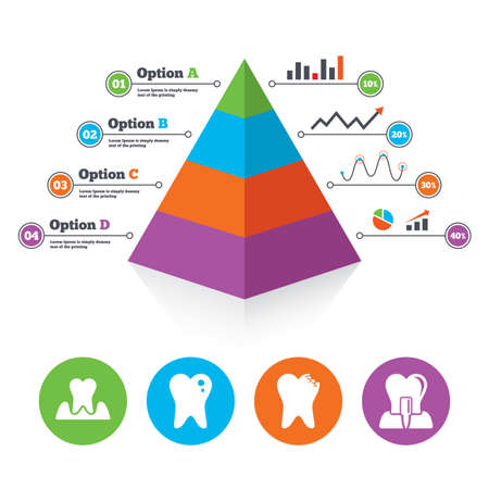 gingivitis: Pyramid chart template. Dental care icons. Caries tooth sign. Tooth endosseous implant symbol. Parodontosis gingivitis sign. Infographic progress diagram. Vector