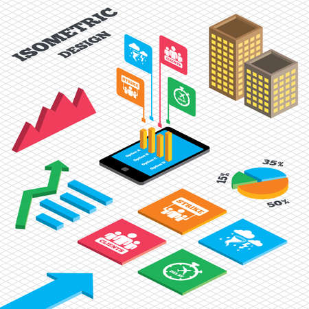 delayed: Isometric design. Graph and pie chart. Strike icon. Storm bad weather and group of people signs. Delayed flight symbol. Tall city buildings with windows. Vector