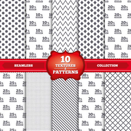 20 25: Repeatable patterns and textures. Sale discount icons. Special offer price signs. 10, 20, 25 and 30 percent off reduction symbols. Gray dots, circles, lines on white background. Vector
