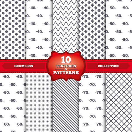 40 50: Repeatable patterns and textures. Sale discount icons. Special offer price signs. 40, 50, 60 and 70 percent off reduction symbols. Gray dots, circles, lines on white background. Vector Illustration