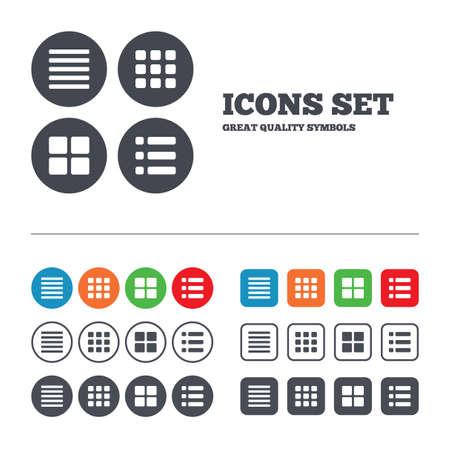 List menu icons. Content view options symbols. Thumbnails grid or Gallery view. Web buttons set. Circles and squares templates. Vector Ilustração