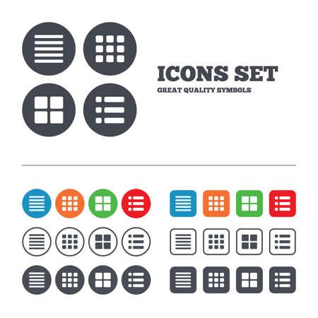 Listesi menü simgeleri. İçerik görünüm seçenekleri sembolleri. Minyatür ızgara veya Galeri görünümü. Web düğmeleri ayarlayın. Çemberler ve meydanlar şablonları. Vektör Çizim