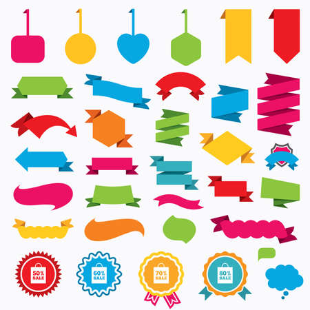 60 70: Web stickers, tags and banners. Sale bag tag icons. Discount special offer symbols. 50%, 60%, 70% and 80% percent sale signs. Speech bubbles and award labels. Vector Illustration