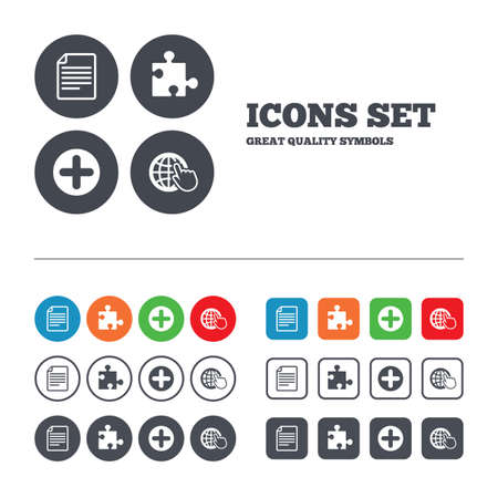 puzzle globe: Plus add circle and puzzle piece icons. Document file and globe with hand pointer sign symbols. Web buttons set. Circles and squares templates. Vector