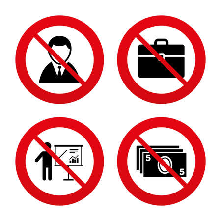no label: No, Ban or Stop signs. Businessman icons. Human silhouette and cash money signs. Case and presentation with chart symbols. Prohibition forbidden red symbols. Vector