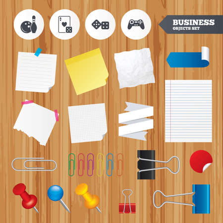 paper sheets: Paper sheets. Office business stickers, pin, clip. Bowling and Casino icons. Video game joystick and playing card with dice symbols. Entertainment signs. Squared, lined pages. Vector