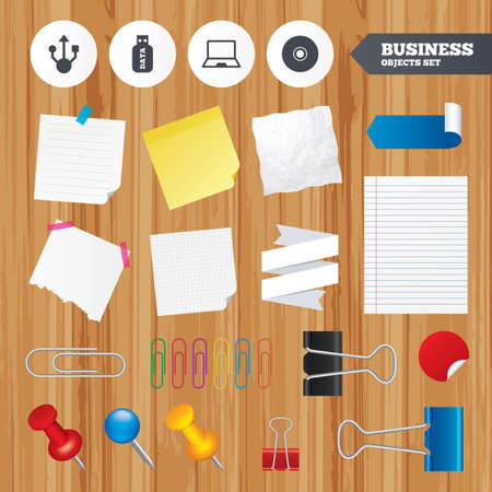 ultrabook: Paper sheets. Office business stickers, pin, clip.  Illustration