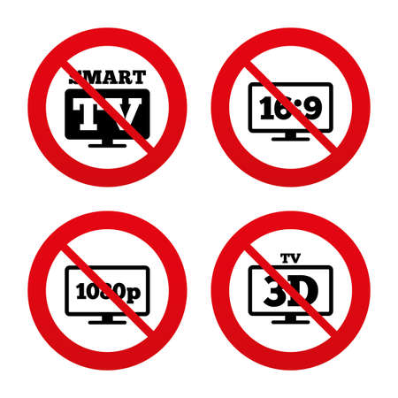 3d mode: No, Ban or Stop signs. Smart TV mode icon. Aspect ratio 16:9 widescreen symbol. Full hd 1080p resolution. 3D Television sign. Prohibition forbidden red symbols. Vector Illustration