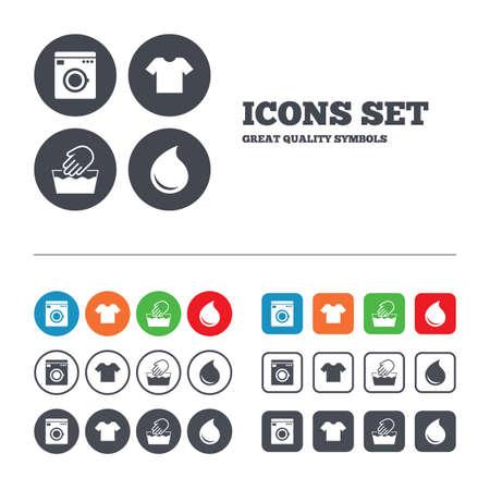 wash machine: Wash machine icon. Hand wash. T-shirt clothes symbol.