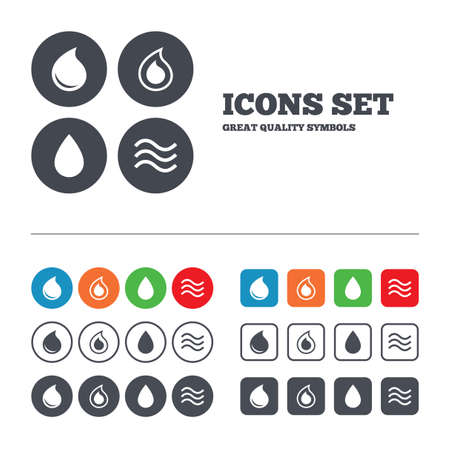 button icons: Water drop icons. Tear or Oil drop symbols.  Illustration