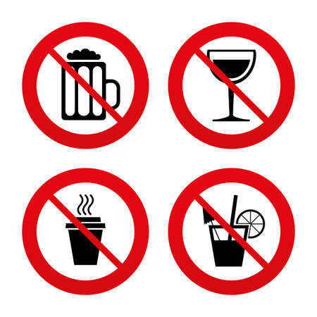no: No, Ban or Stop signs. Drinks icons. Take away coffee cup and glass of beer symbols. Wine glass and cocktail signs. Prohibition forbidden red symbols. Vector