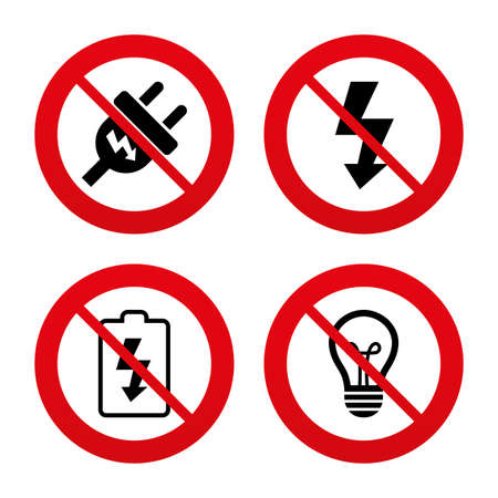 spiral cord: No, Ban or Stop signs. Electric plug icon. Lamp bulb and battery symbols. Low electricity and idea signs. Prohibition forbidden red symbols. Vector
