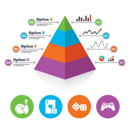 token: Pyramid chart template. Bowling and Casino icons. Video game joystick and playing card with dice symbols. Entertainment signs. Infographic progress diagram. Vector