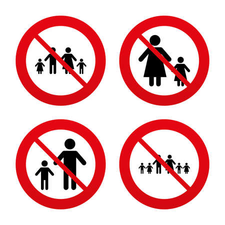 famiglia numerosa: No, Ban o segnali di stop. Grande famiglia con l'icona dei bambini. Genitori e bambini simboli. Segni famiglia monoparentale. Madre e padre di divorzio. Divieto vietato simboli rossi. Vettore