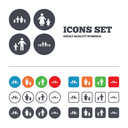 Large family with children icon. Parents and kids symbols. One-parent family signs. Mother and father divorce. Web buttons set. Circles and squares templates. Vector Illustration