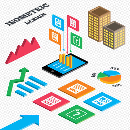 Isometric design. Graph and pie chart. File document and question icons. XLS, PDF and DOC file symbols. Download or save doc signs. Tall city buildings with windows. Vector Vector